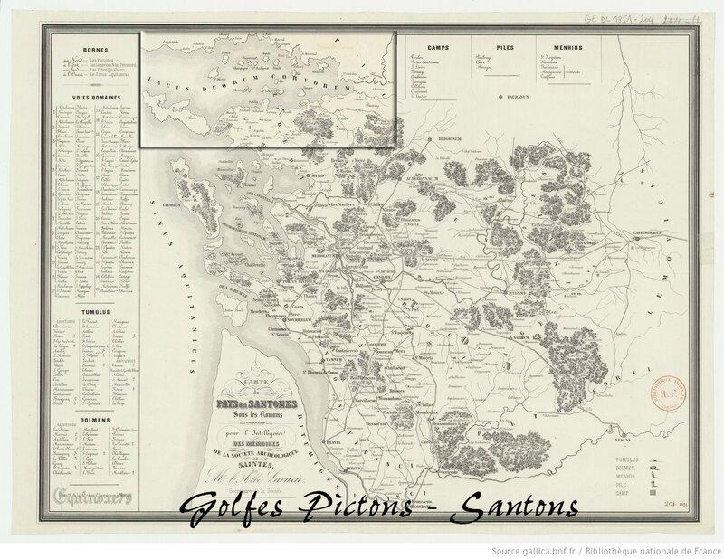 Carte du pays des Santones sous les romains dressée pour l'intelligence des mémoires de la Société archéologiques de Saintes par Mr
