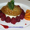 croustillon de framboises,mousse au chocolat blanc