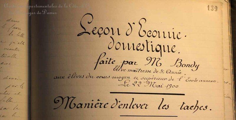 Leçon d'économie domestique - Archives Départementales de la Côte-d'Or