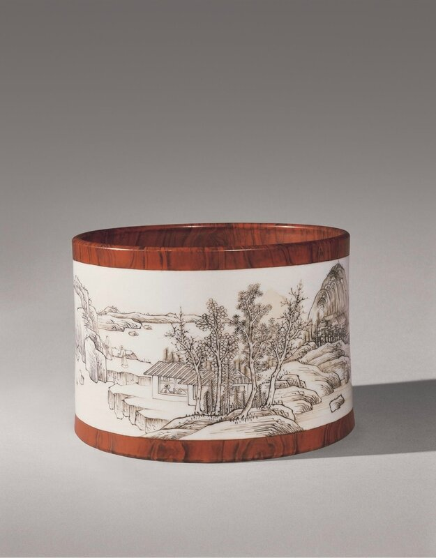 A fine and rare faux-bois grisaille-decorated brushpot, mark and period of Yongzheng
