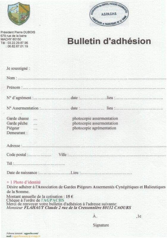 Bulletin d'adhésion Blog