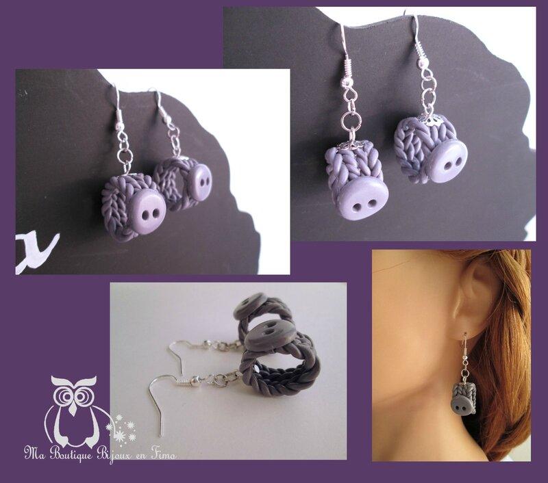 Boucles tricot gris violet 1