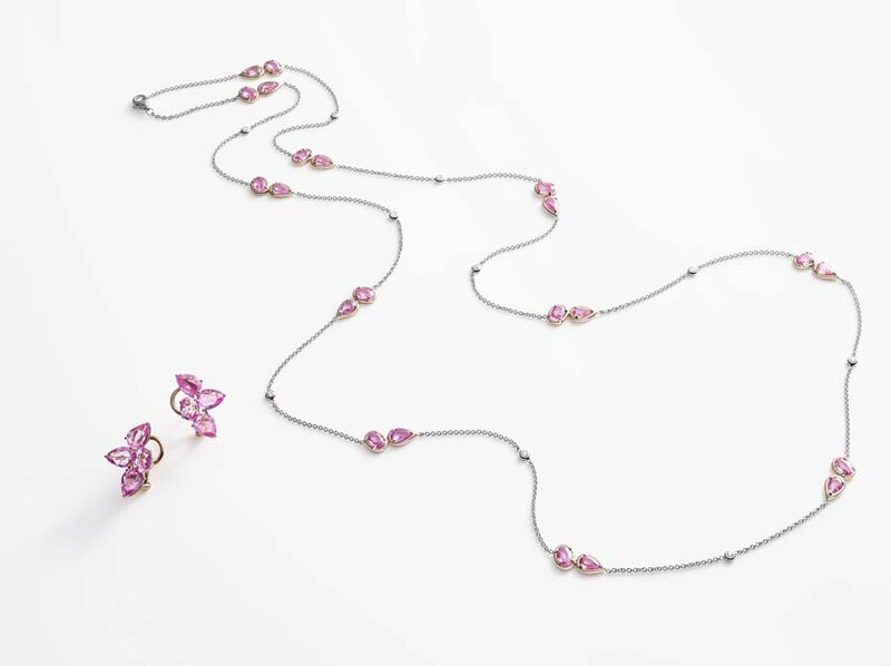 william and son_pink sapphires chain and earrings