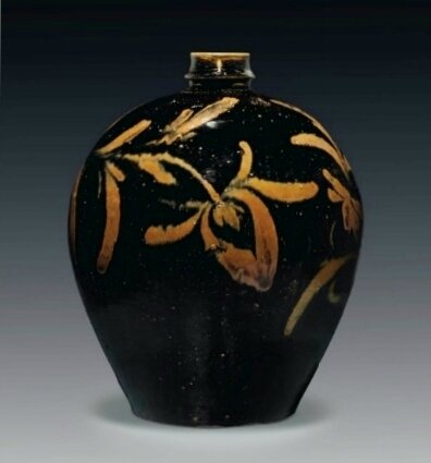 A large Cizhou-type russet-painted blackish-brown-glazed jar, China, Jin-Yuan Dynasty, 13th Century