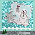 Carte scrap bonomme de neige.