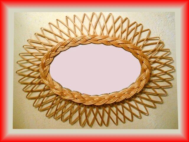 miroir soleil vintage Rotin