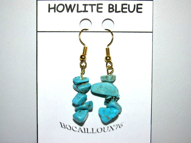 BOUCLE OREILLE HOWLITE TURQUOISE 3