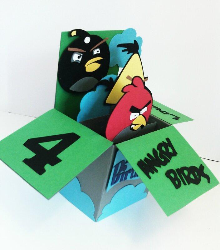 carte pop-up 3d anniversaire enfant Angry Birds garçon 4 ans3