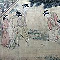 Du jin 杜堇 (painted late 15th to early 16th centuries). female figures playing hockey and soccer