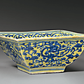 An underglaze blue-decorated yellow-ground square bowl, jiajing six-character mark in underglaze blue and of the period