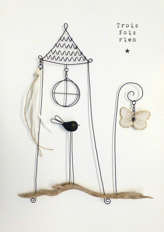 Piou N°442, fil de fer, trois fois rien, wire, wire art
