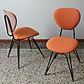 Paire de chaises 50's reverso orange gris