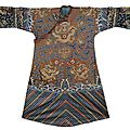 An embroidered brown dragon robe, china, 19th ct