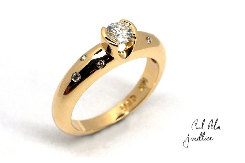 Bague or jaune 14kt diamant-robertlanglois