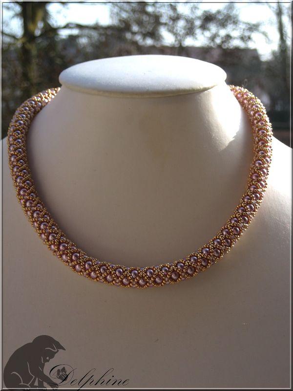 Crystal bangle et perles nacrées roses...