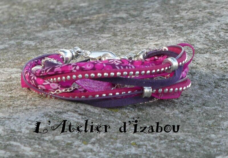 P1020038 Bracelet mutirangs, multimatières rose, violet
