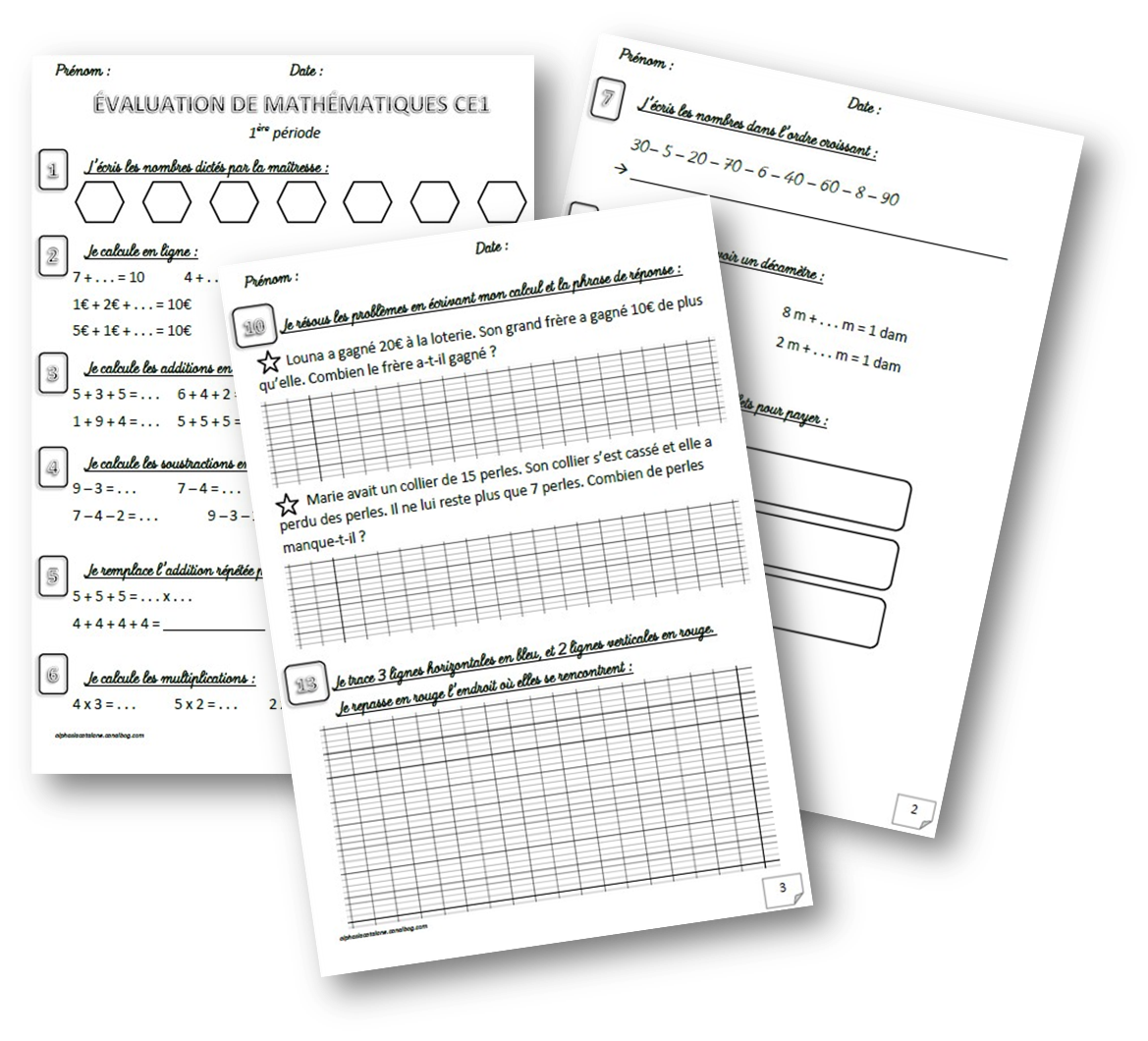 Evaluation Calendrier Ce1.Evaluations De Mathematiques Ce1 1er Trimestre Periode 1