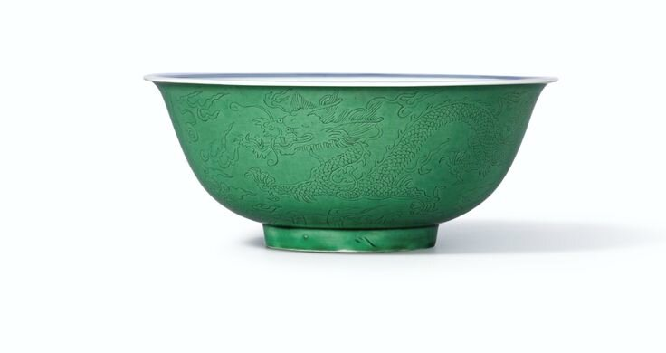 A fine and extremely rare incised green-glazed 'dragon' bowl, Mark and period of Kangxi