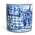 A blue and white brushpot, qing dynasty, kangxi period (1662-1722)