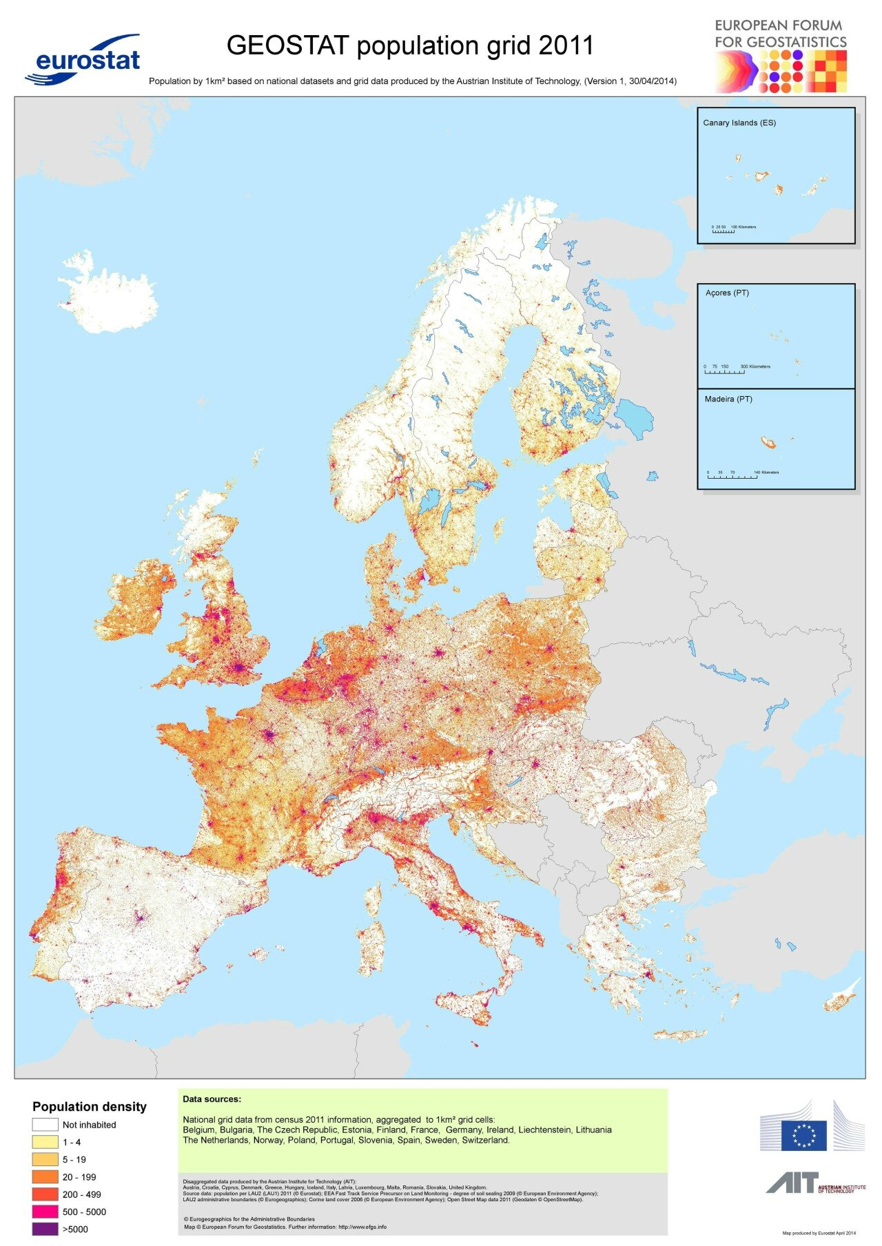 Population density in Europe, 2011