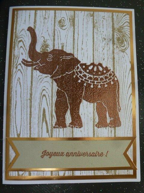 19a Carte Elephant cuivré sur bois