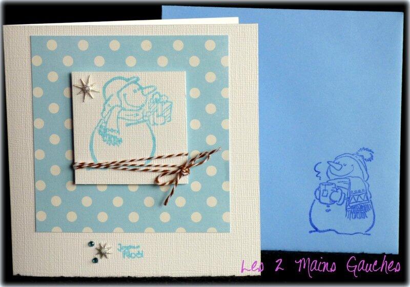 carte de Noel avec bonhomme de neige bleu