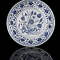A fine and rare blue and white lotus bouquet dish, china, yongle period