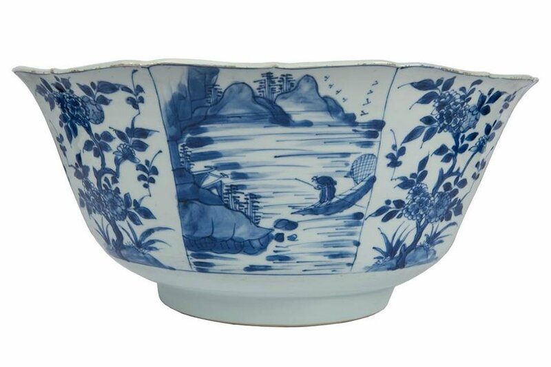 Large blue and white bowl with landscape and floral decoration