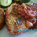 Filet mignon de porc aux amandes, concassée de tomates au porto