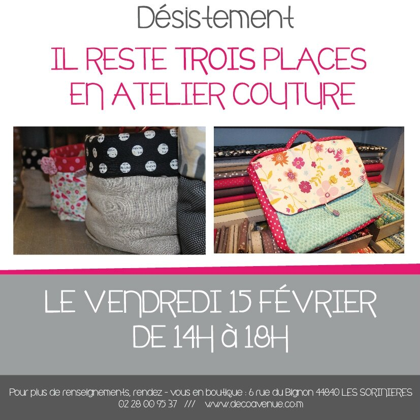 Il reste des places en atelier couture decoavenue le blog for Atelier couture a nantes