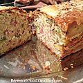 Cake au jambon rapé fumé, olives vertes et gruyère rapé.