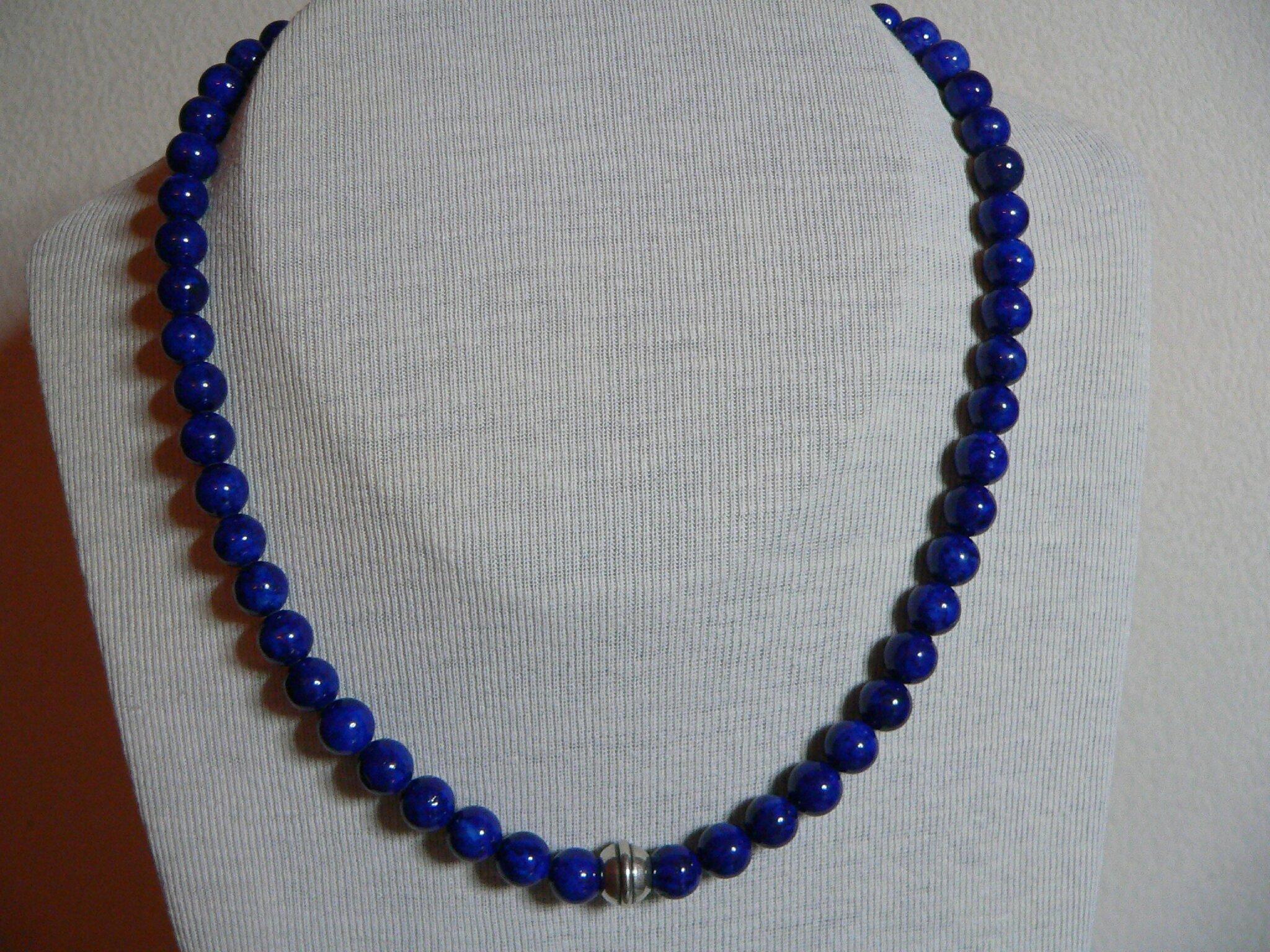 collier perle lapis lazuli