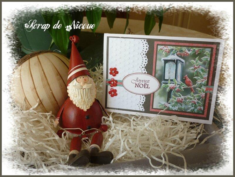 Carte cardinal et lanterne fond marron Joyeux Noël