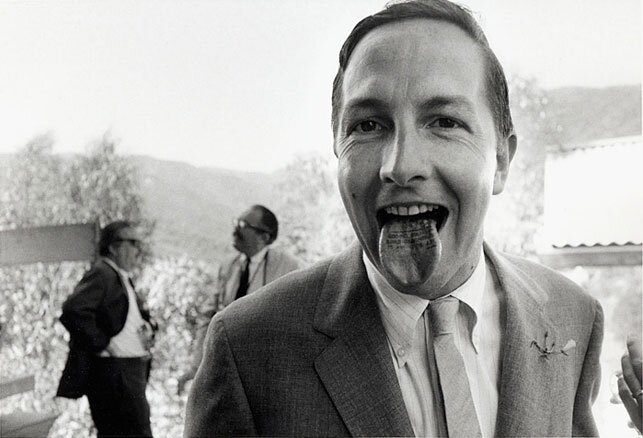 Robert Rauschenberg with his tongue stamped Wedding Souvenir Claes Oldenburg 1966