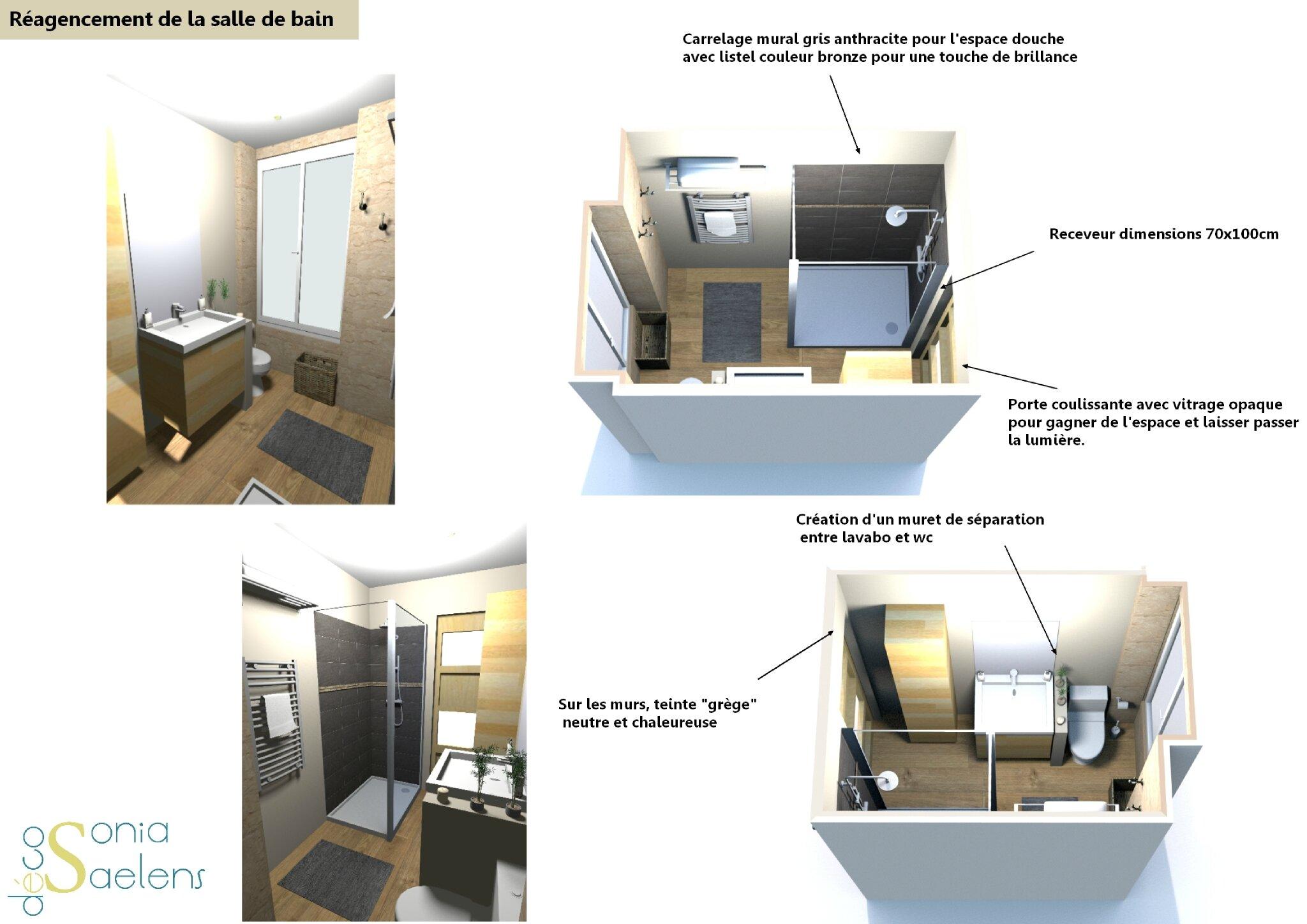 Projet client r agencement d 39 une petite salle de bain for Salle de bain 13
