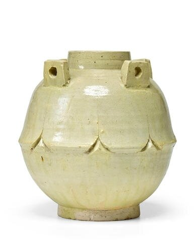A Greenish-cream-glazed Lotus-petal Jar, Six dynasties-Northern Qi (220 or 222-577)