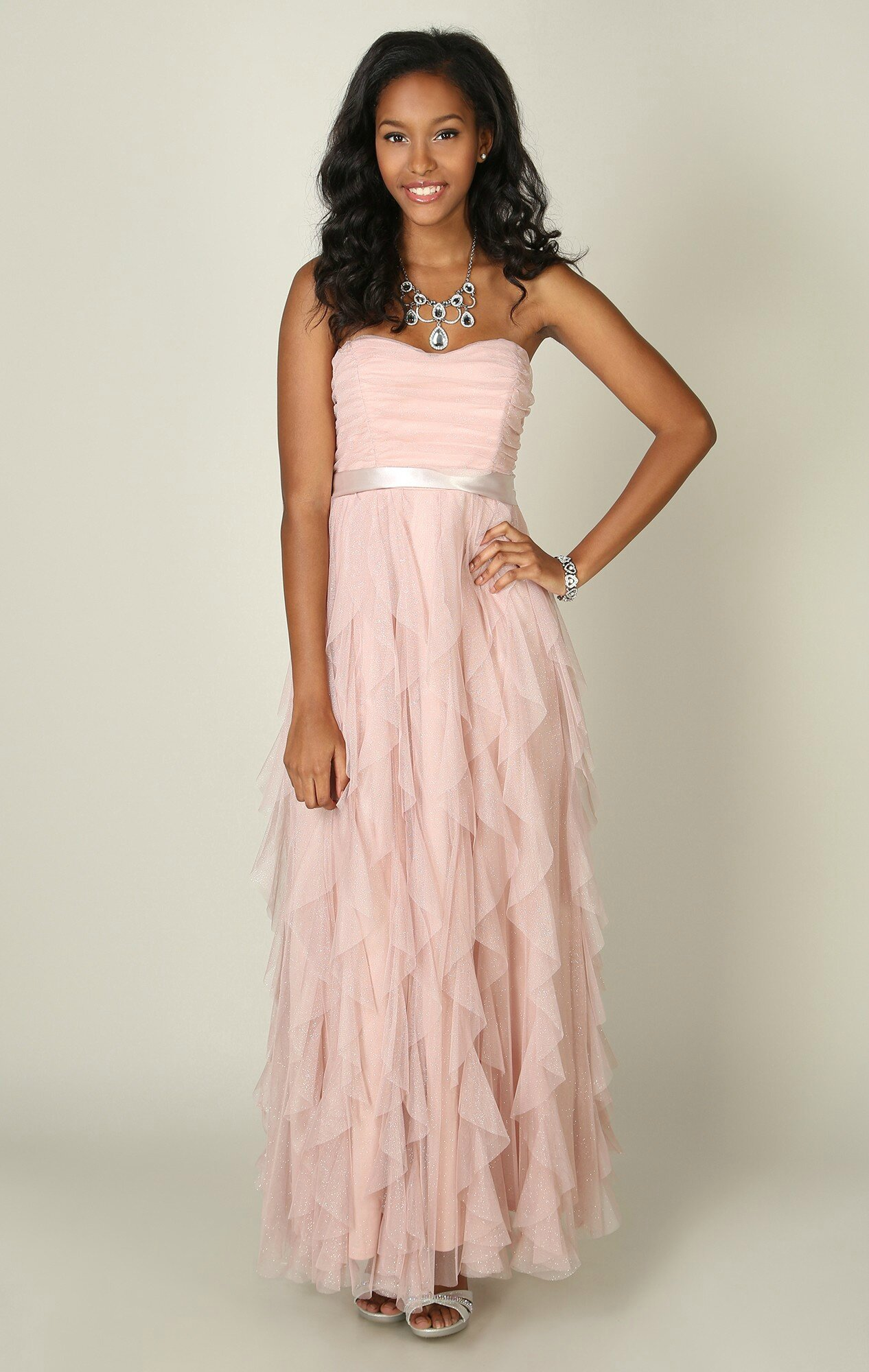 Strapless Ball Gown Dress with Satin Tie Waist and Tendril Skirt ...