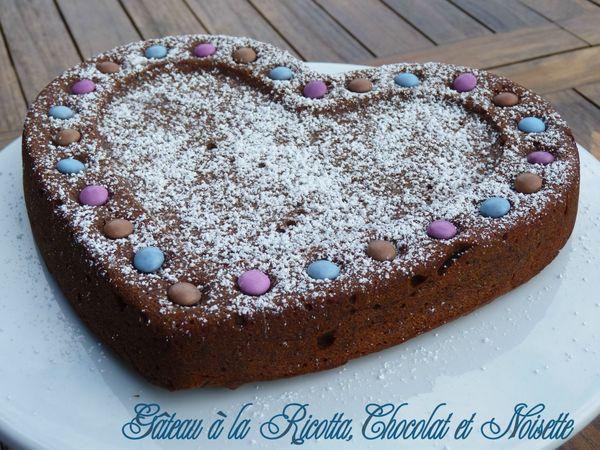 Gâteau à la ricotta, chocolat et noisette