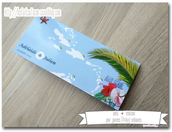 faire part billet d avion theme des iles