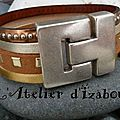 Brillant, mélange argenté, doré pour ce bracelet manchette multirangs cuir et daim ! en avant pour la fête !