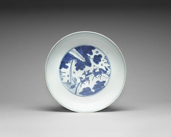 A large blue and white dish, Jiajing six-character mark and of the period