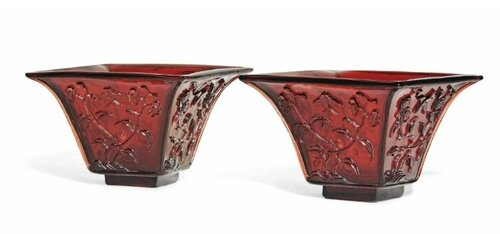 A pair of small Chinese square-form red glass jardinières, early 20th century