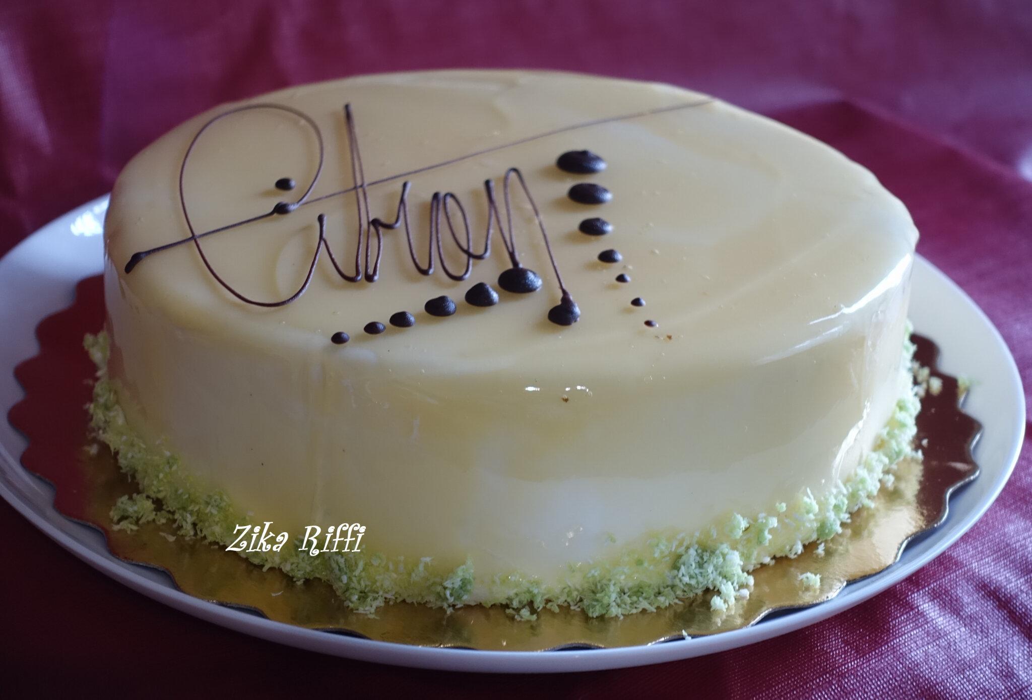 Gâteau Danniversaire Génoise Et Glaçage Miroir Au Citron