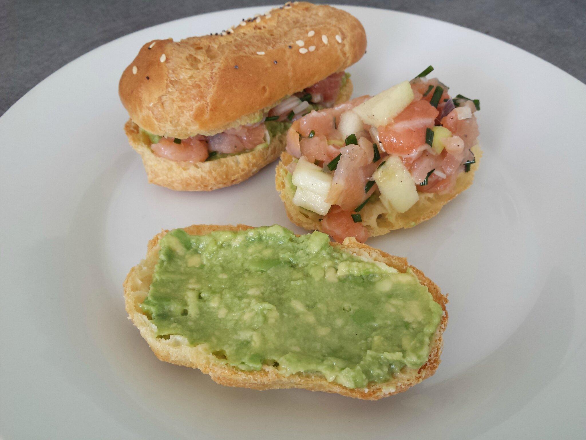 eclair salé aux 2 saumons et à la pomme verte
