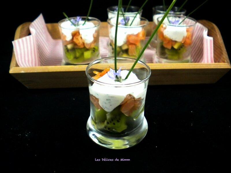 Verrines au saumon fumé et au kiwi 4