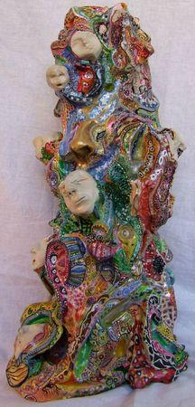 Hervé THAREL - SCHMIMBLOCK'S visages 2009 - 47 cm x 20 cm gouache T7 sur argile (2)