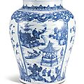 A massive blue and white 'figures' jar, qing dynasty, kangxi period (1662-1722)
