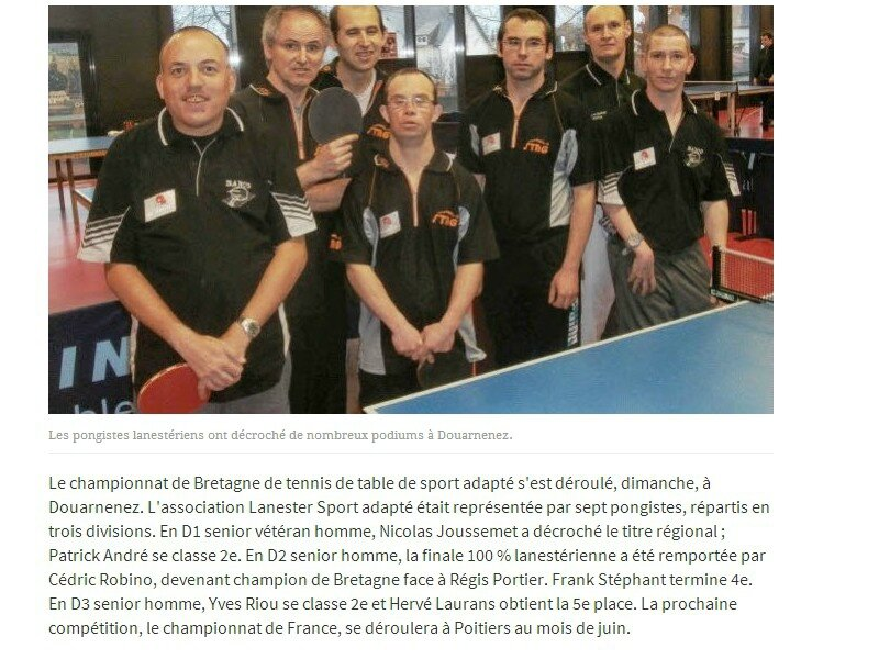 Saint renan journ e d 39 information tennis le blog de ligue de bretagne du sport adapt - Ligue de bretagne de tennis de table ...