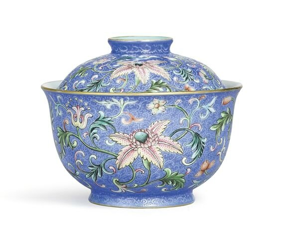 A superbly enamelled blue-ground 'yangcai' sgraffiato 'Floral' bowl and cover, seal marks and period of Qianlong