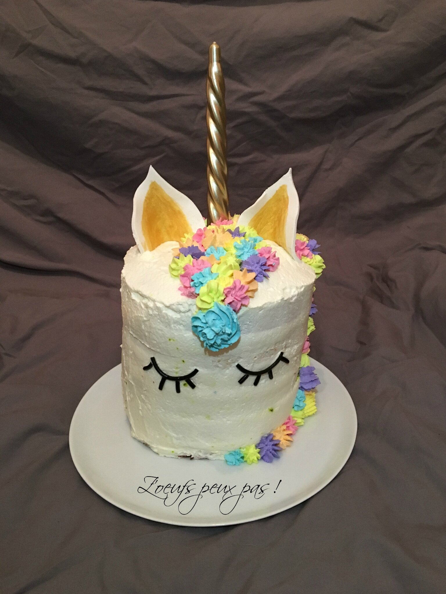 Rainbow cake licorne sans oeufs z 39 oeufs peux pas for Decoration gateau licorne